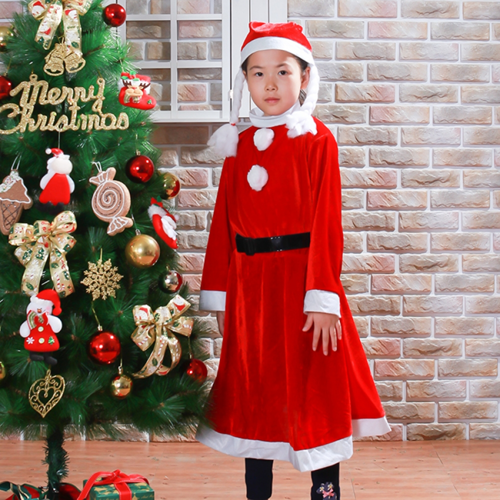 고급형 원피스 산타복(8세 내외) [제작 대량 도매 로고 인쇄 레이저 마킹 각인 나염 실크 uv 포장 공장 문의는 네이뽕]