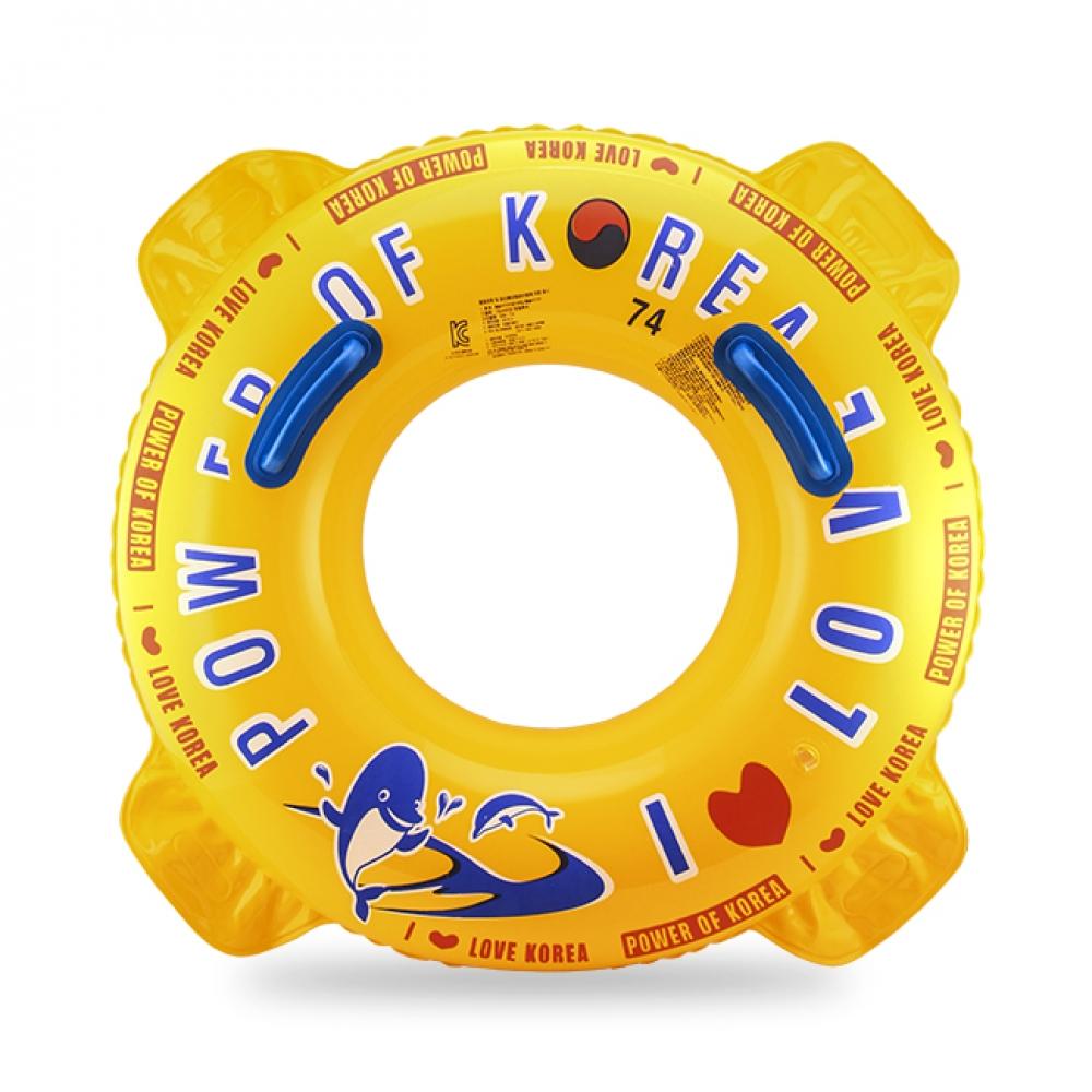 74cm 원형 돌고래 튜브 (노랑) (8-10세) [제작 대량 도매 로고 인쇄 레이저 마킹 각인 나염 실크 uv 포장 공장 문의는 네이뽕]