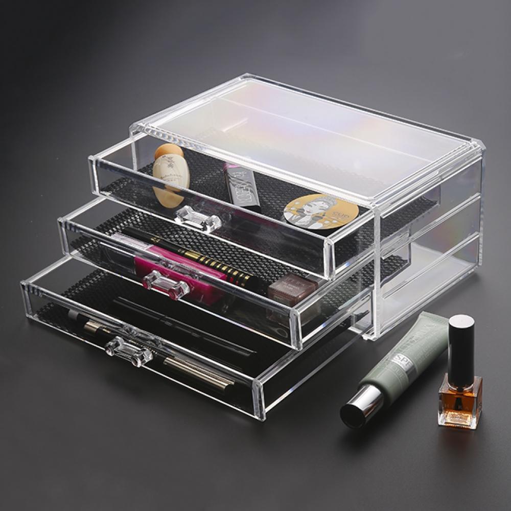 3단 투명 화장품 정리함 [제작 대량 도매 로고 인쇄 레이저 마킹 각인 나염 실크 uv 포장 공장 문의는 네이뽕]