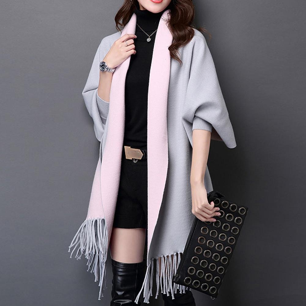 그레이+핑크 가디건 숄(185cm) (여성용) [제작 대량 도매 로고 인쇄 레이저 마킹 각인 나염 실크 uv 포장 공장 문의는 네이뽕]