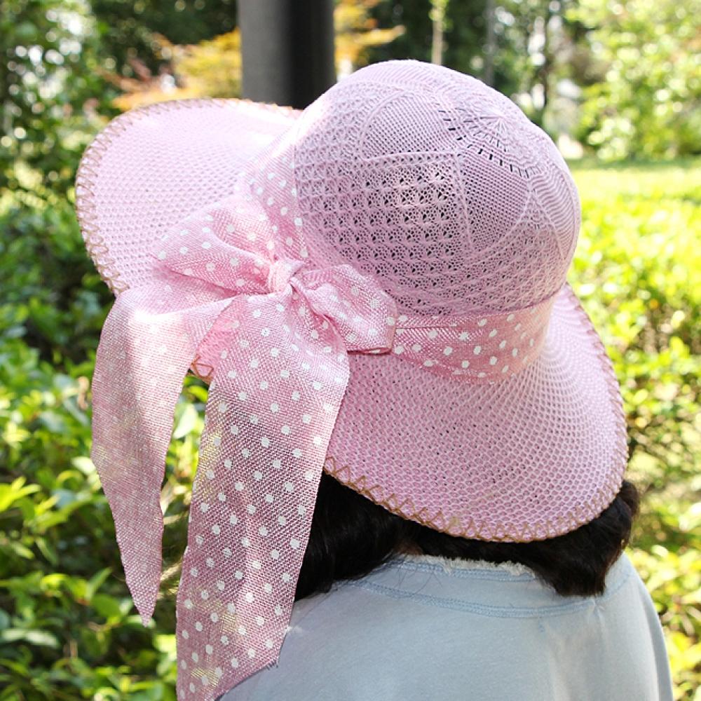 도트 리본 패션 모자(여성용) [제작 대량 도매 로고 인쇄 레이저 마킹 각인 나염 실크 uv 포장 공장 문의는 네이뽕]
