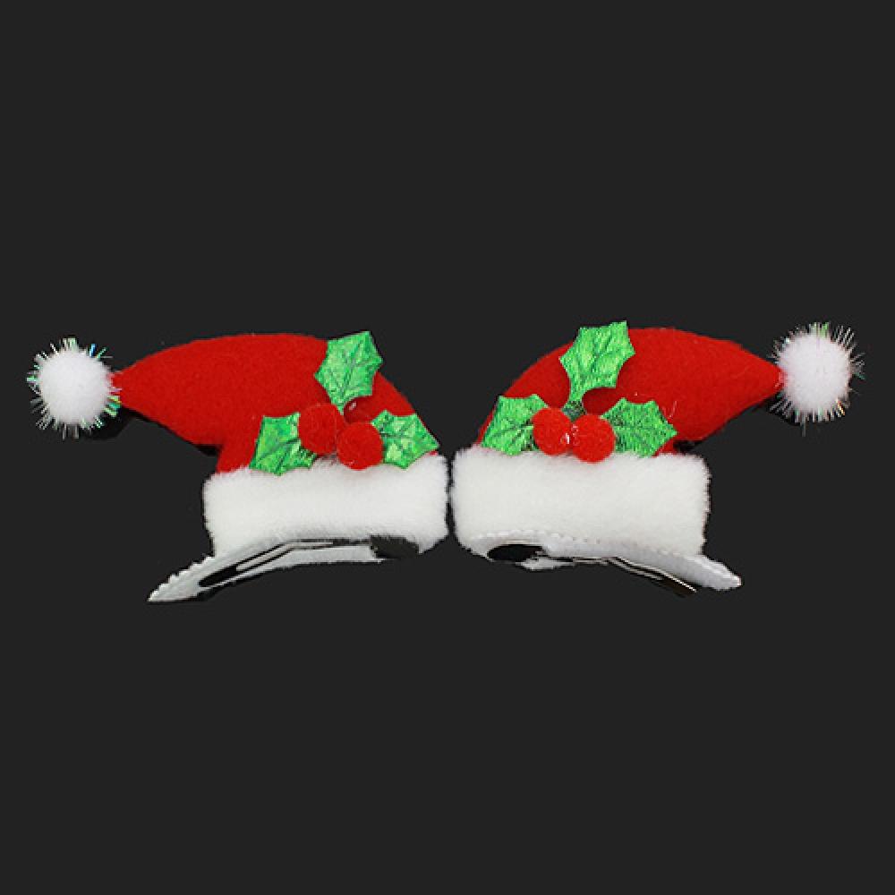 2p 산타모자 머리핀(5cmx5.5cm) [제작 대량 도매 로고 인쇄 레이저 마킹 각인 나염 실크 uv 포장 공장 문의는 네이뽕]