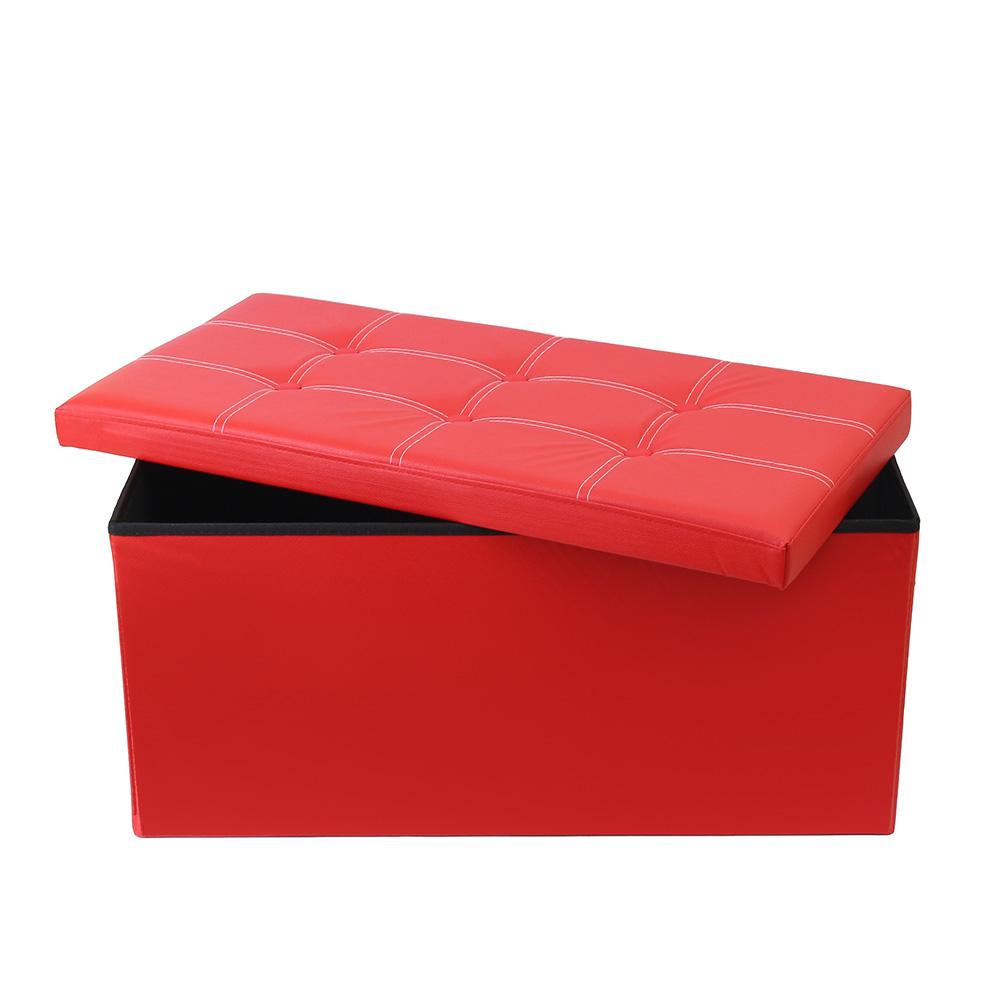 인조가죽 수납의자(레드) [제작 대량 도매 로고 인쇄 레이저 마킹 각인 나염 실크 uv 포장 공장 문의는 네이뽕]