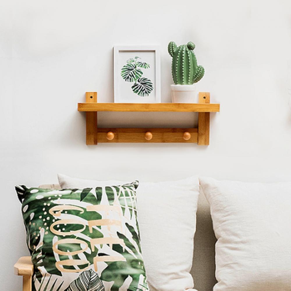 트로이 후크 벽걸이 선반(3구) ( 브라운) [제작 대량 도매 로고 인쇄 레이저 마킹 각인 나염 실크 uv 포장 공장 문의는 네이뽕]
