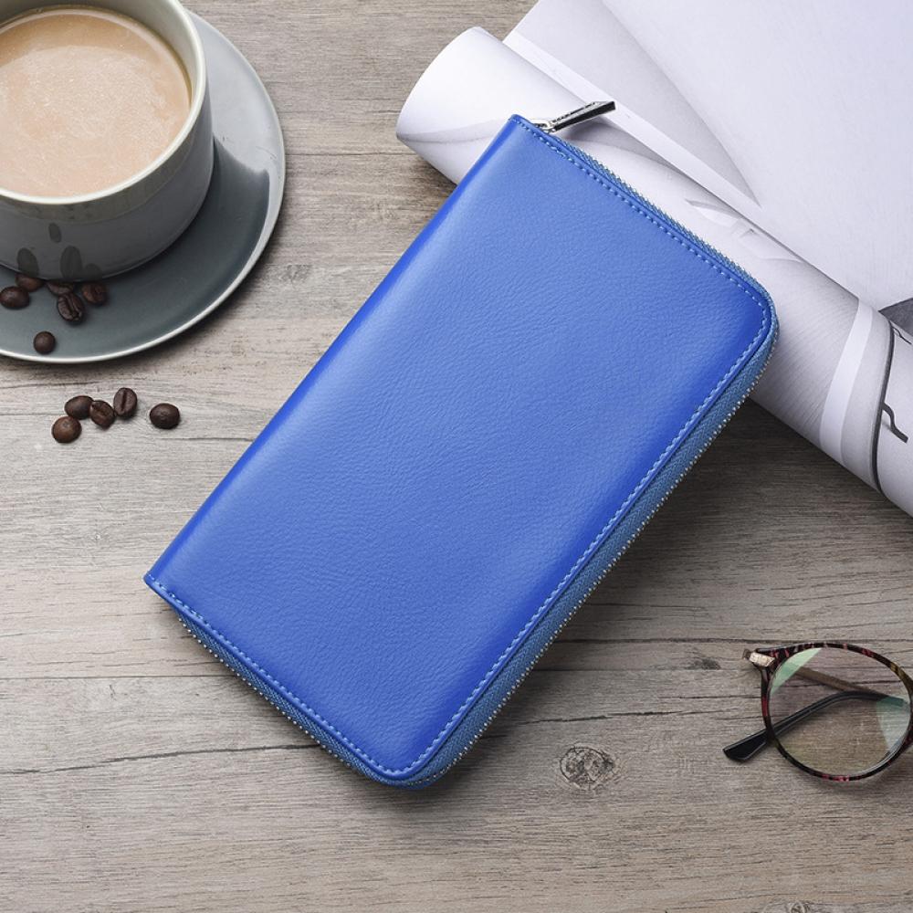 마르세 가죽 카드지갑(블루) [제작 대량 도매 로고 인쇄 레이저 마킹 각인 나염 실크 uv 포장 공장 문의는 네이뽕]