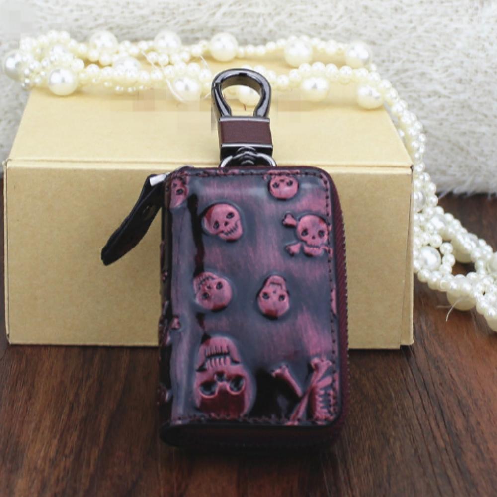 해골 키홀더 지갑(레드) [제작 대량 도매 로고 인쇄 레이저 마킹 각인 나염 실크 uv 포장 공장 문의는 네이뽕]
