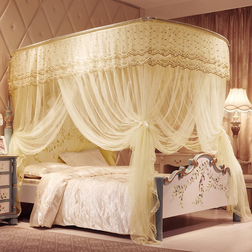 안젤라 커튼형 침대모기장(150x200cm) (베이지) [제작 대량 도매 로고 인쇄 레이저 마킹 각인 나염 실크 uv 포장 공장 문의는 네이뽕]