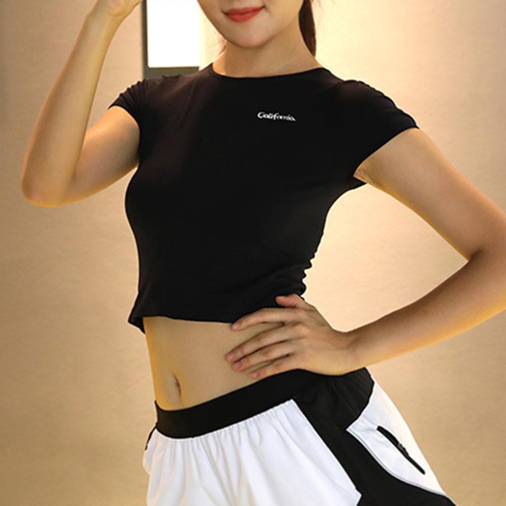 슬림바디 스포츠 크롭 티셔츠(블랙) (S) [제작 대량 도매 로고 인쇄 레이저 마킹 각인 나염 실크 uv 포장 공장 문의는 네이뽕]