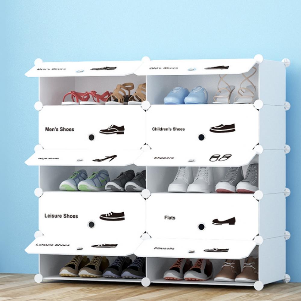 화이트 슈즈 도어형 신발장(2열5단) (95x93cm) [제작 대량 도매 로고 인쇄 레이저 마킹 각인 나염 실크 uv 포장 공장 문의는 네이뽕]