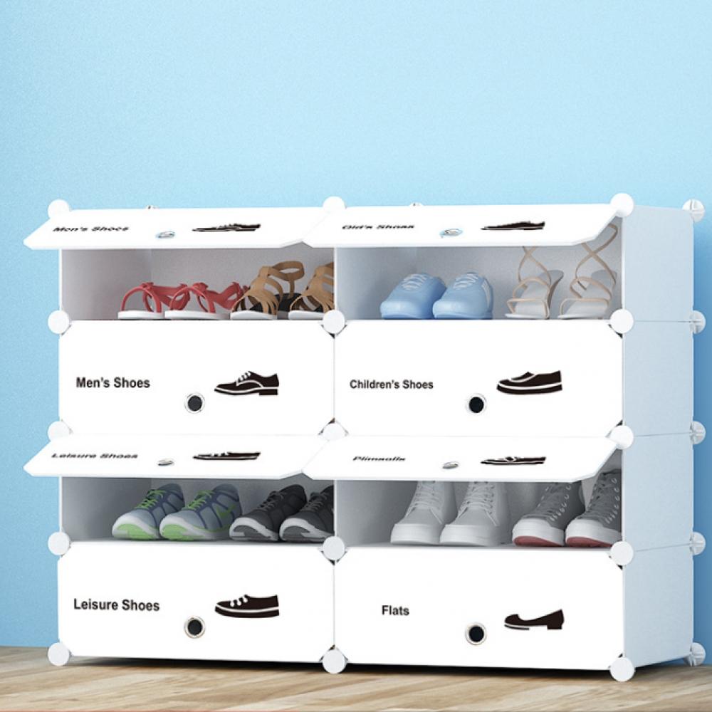 화이트 슈즈 도어형 신발장(2열4단) (95x75cm) [제작 대량 도매 로고 인쇄 레이저 마킹 각인 나염 실크 uv 포장 공장 문의는 네이뽕]