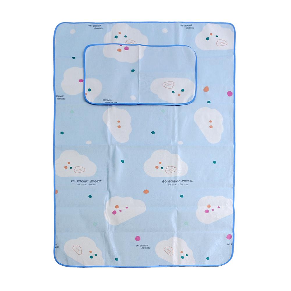 포리온 구름송이 침대 패드세트(블루) (120x195cm) [제작 대량 도매 로고 인쇄 레이저 마킹 각인 나염 실크 uv 포장 공장 문의는 네이뽕]