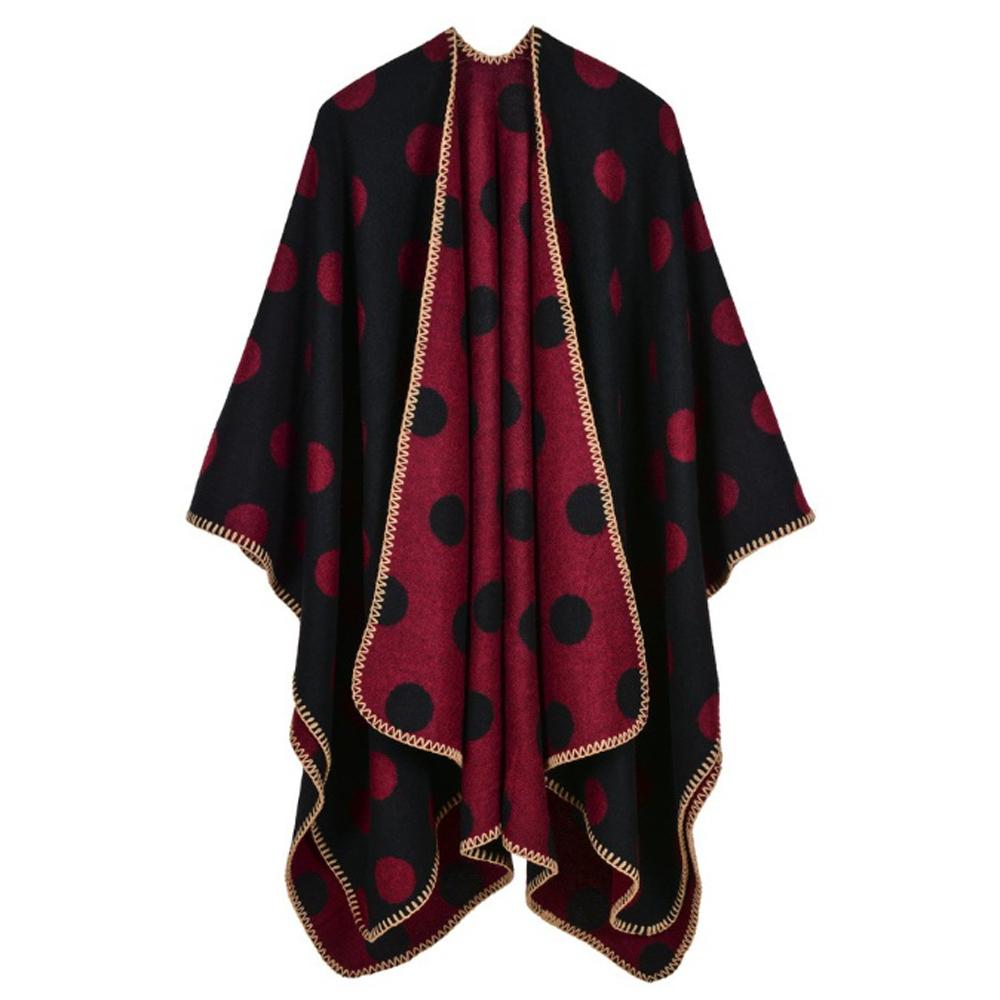 라베르 도트 무늬 여성 숄(블랙레드) [제작 대량 도매 로고 인쇄 레이저 마킹 각인 나염 실크 uv 포장 공장 문의는 네이뽕]