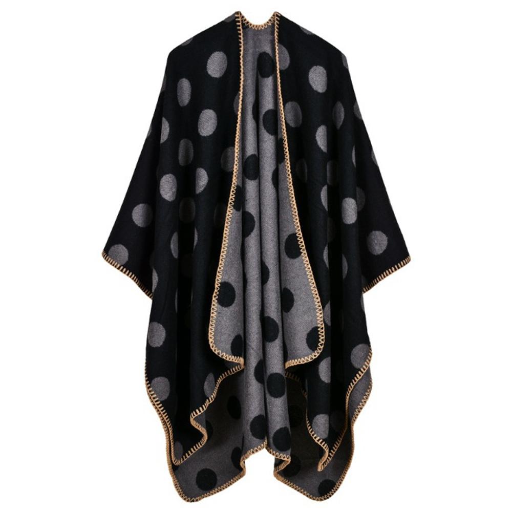 라베르 도트 무늬 여성 숄(블랙그레이) [제작 대량 도매 로고 인쇄 레이저 마킹 각인 나염 실크 uv 포장 공장 문의는 네이뽕]