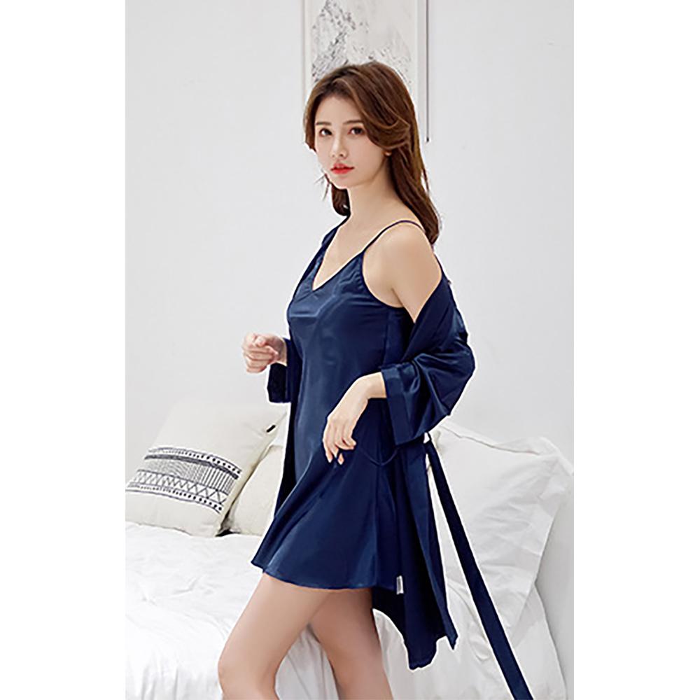 실키나잇 여성 슬립 잠옷세트 (네이비) (XL) [제작 대량 도매 로고 인쇄 레이저 마킹 각인 나염 실크 uv 포장 공장 문의는 네이뽕]