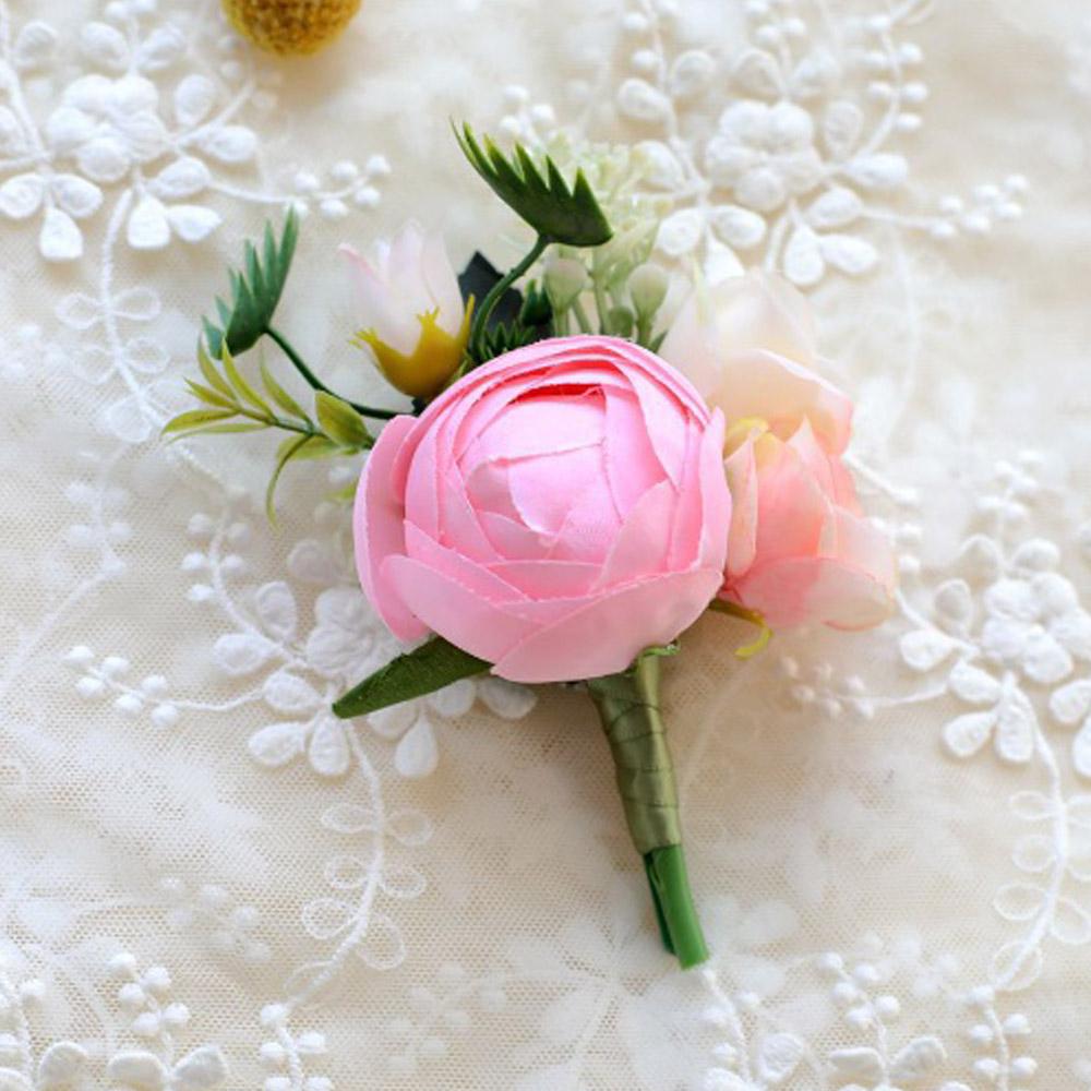 플라워부드 부토니에 브로치(핑크) [제작 대량 도매 로고 인쇄 레이저 마킹 각인 나염 실크 uv 포장 공장 문의는 네이뽕]