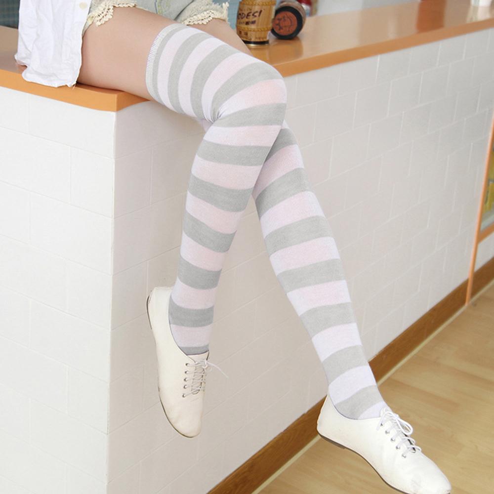 여성용 스트라이프 니삭스(화이트+그레이) (60cm) [제작 대량 도매 로고 인쇄 레이저 마킹 각인 나염 실크 uv 포장 공장 문의는 네이뽕]