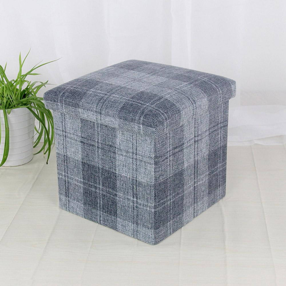 스툴스 체크 수납 의자(그레이) [제작 대량 도매 로고 인쇄 레이저 마킹 각인 나염 실크 uv 포장 공장 문의는 네이뽕]