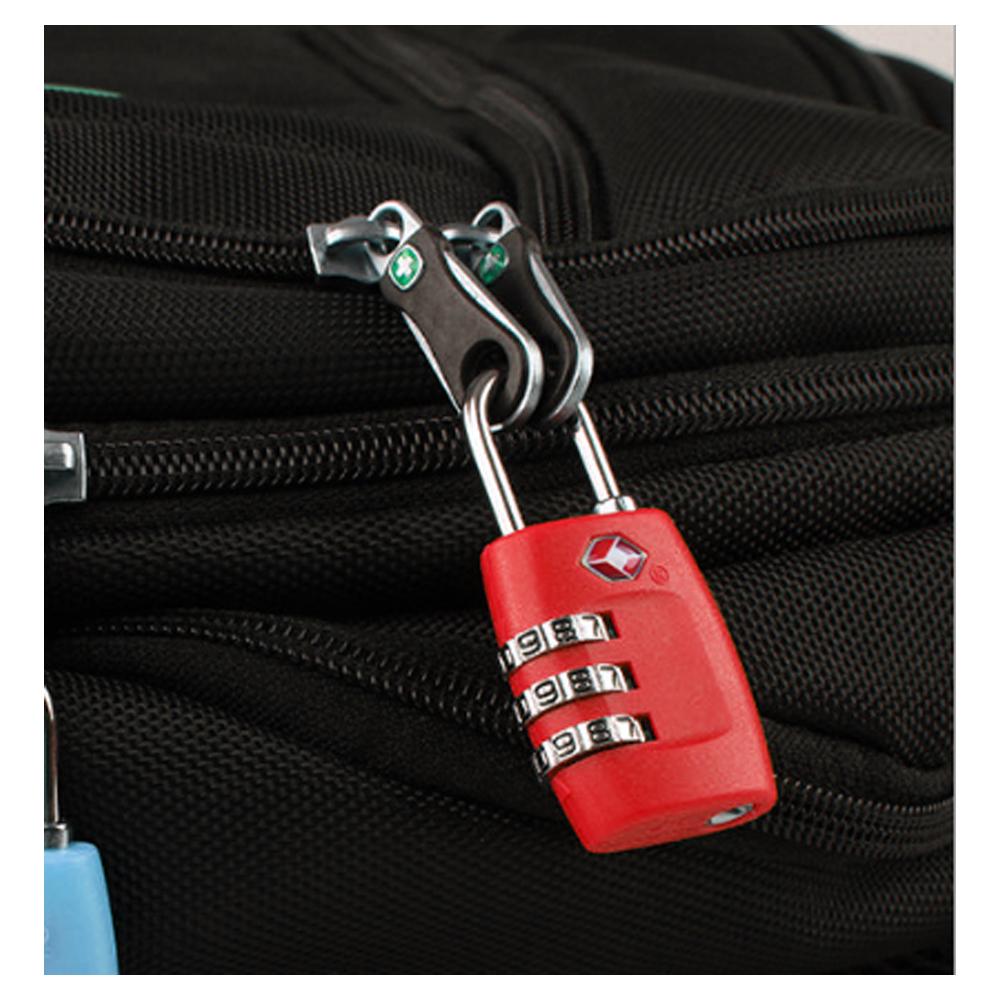 심플락 3자리 TSA 자물쇠(레드) [제작 대량 도매 로고 인쇄 레이저 마킹 각인 나염 실크 uv 포장 공장 문의는 네이뽕]