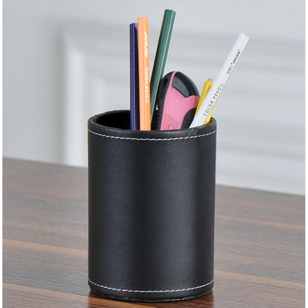 모클 가죽 원형 펜꽂이(블랙) [제작 대량 도매 로고 인쇄 레이저 마킹 각인 나염 실크 uv 포장 공장 문의는 네이뽕]