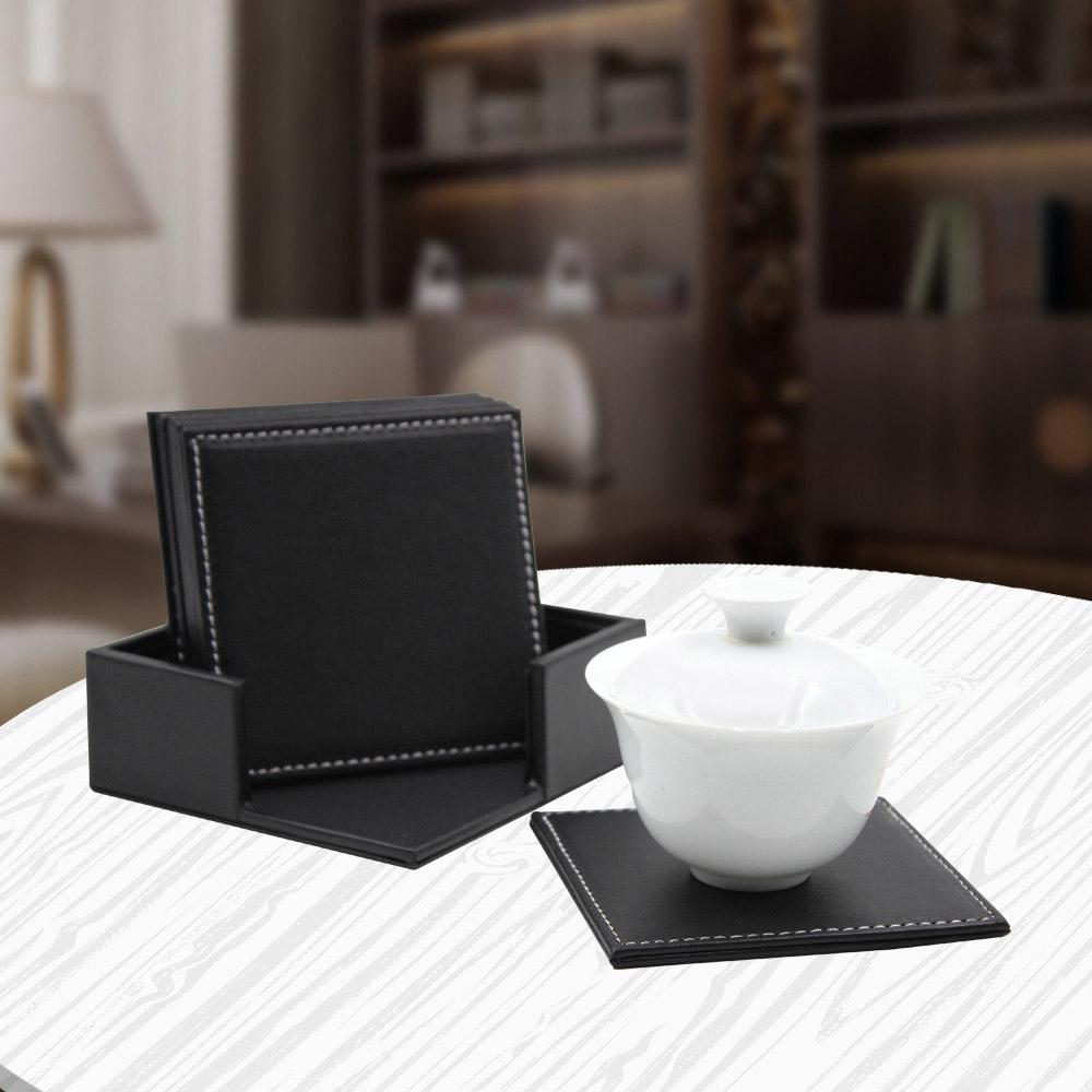 모클 6p 가죽 사각 컵받침 세트(블랙) [제작 대량 도매 로고 인쇄 레이저 마킹 각인 나염 실크 uv 포장 공장 문의는 네이뽕]