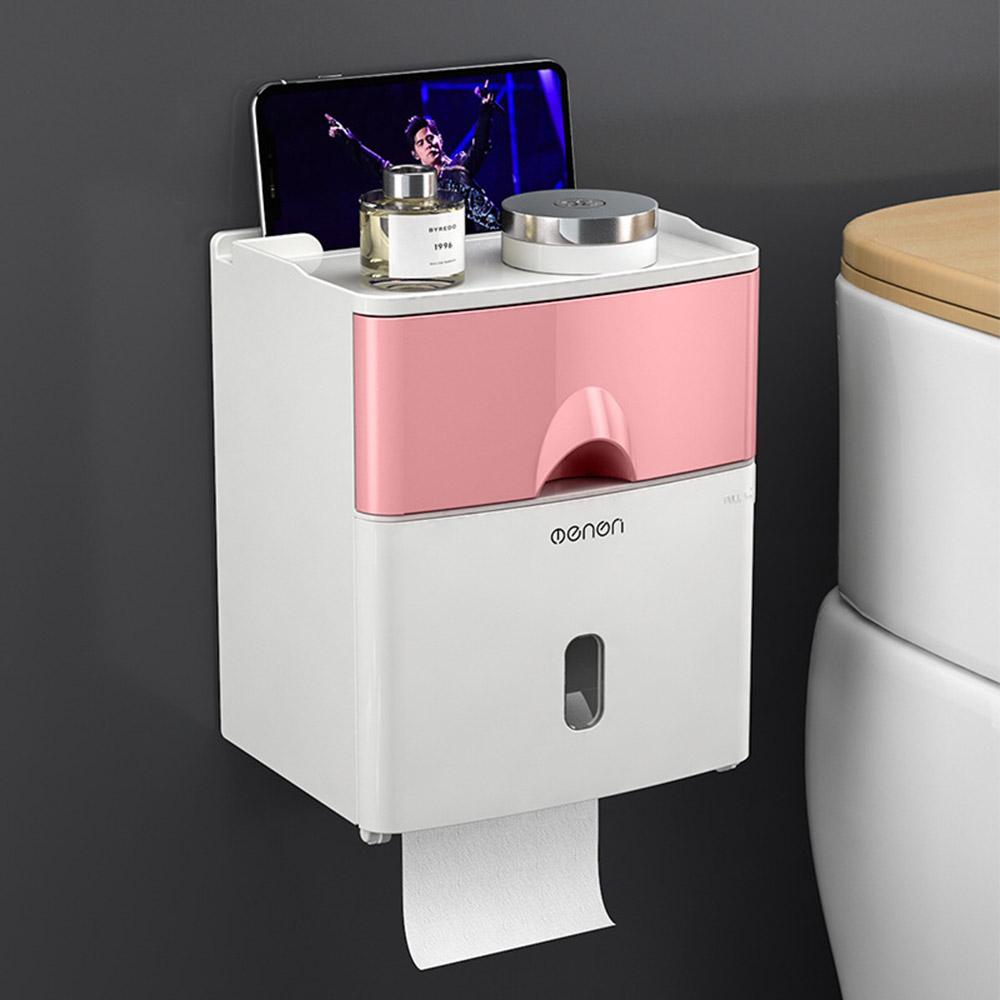 욕실수납 서랍형 휴지 디스펜서(핑크) [제작 대량 도매 로고 인쇄 레이저 마킹 각인 나염 실크 uv 포장 공장 문의는 네이뽕]