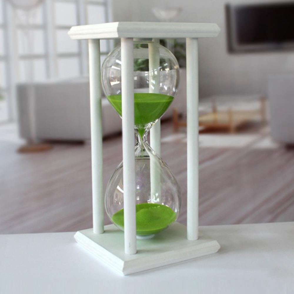 화이트원목 인테리어 모래시계(30분) (그린) [제작 대량 도매 로고 인쇄 레이저 마킹 각인 나염 실크 uv 포장 공장 문의는 네이뽕]