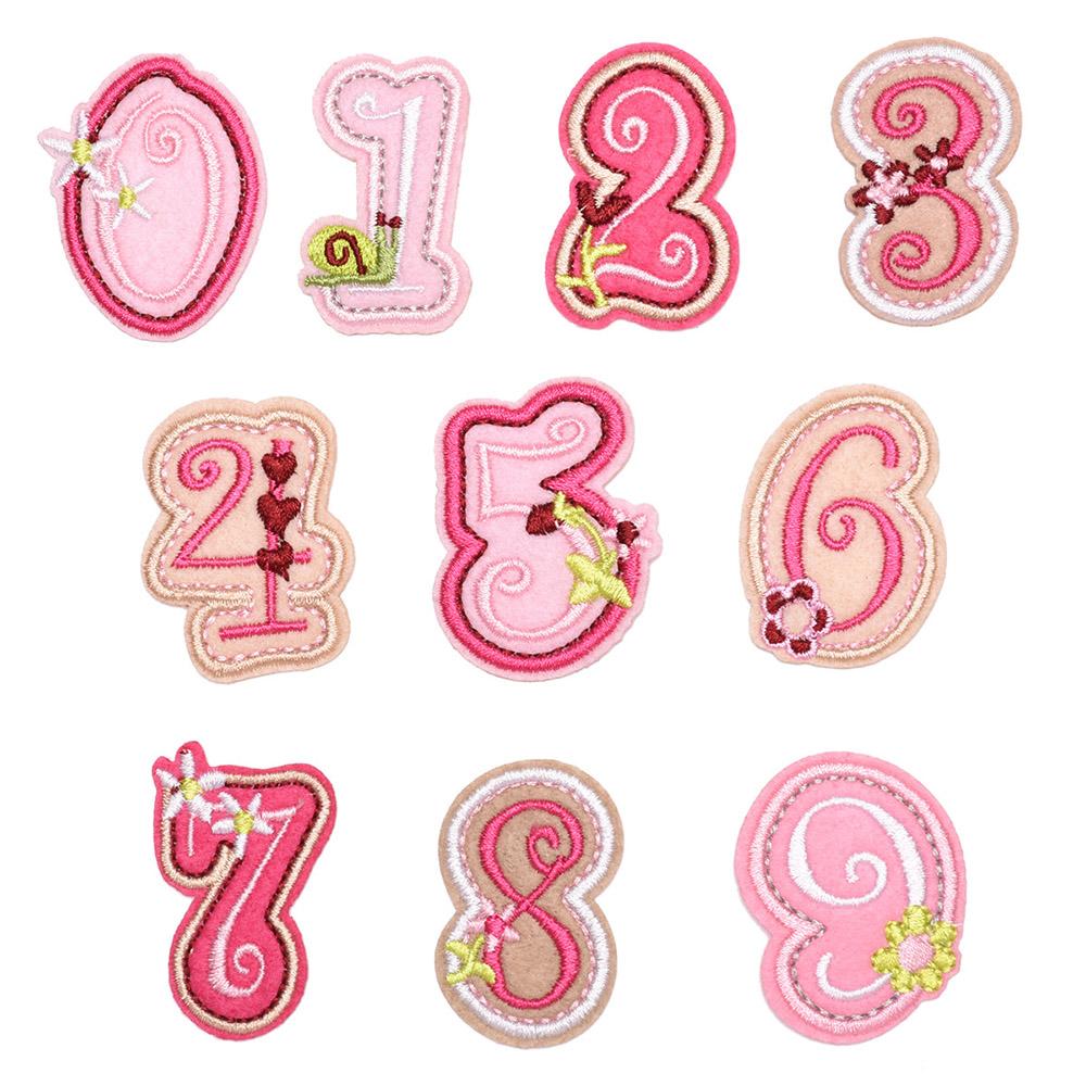 핑크 숫자 와펜세트 N-010(10종) [제작 대량 도매 로고 인쇄 레이저 마킹 각인 나염 실크 uv 포장 공장 문의는 네이뽕]