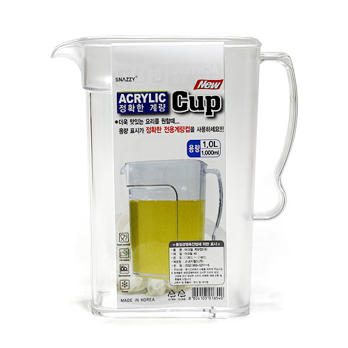 1L 아크릴 계량컵(17.5cmx15cm) [제작 대량 도매 로고 인쇄 레이저 마킹 각인 나염 실크 uv 포장 공장 문의는 네이뽕]
