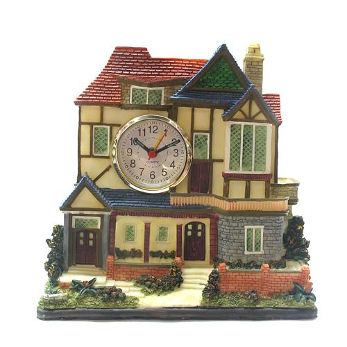 인테리어 해피 하우스 탁상시계(18.5cmx18.5cmx6.5cm) [제작 대량 도매 로고 인쇄 레이저 마킹 각인 나염 실크 uv 포장 공장 문의는 네이뽕]