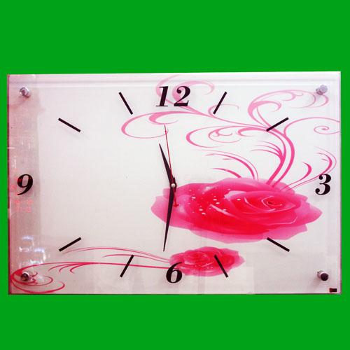 핑크장미 그림 벽시계(40cmx60cmx3.3) [제작 대량 도매 로고 인쇄 레이저 마킹 각인 나염 실크 uv 포장 공장 문의는 네이뽕]