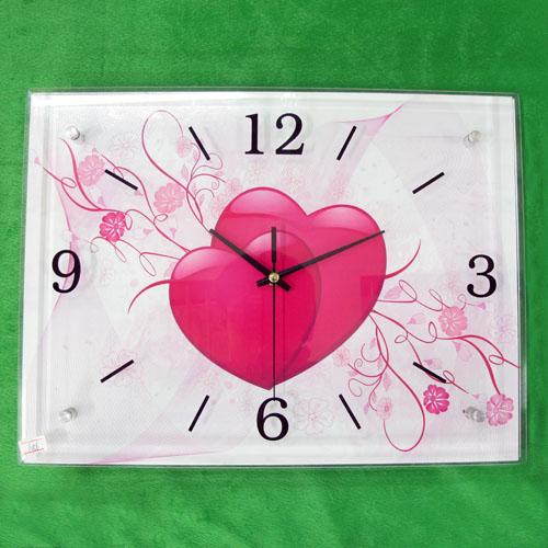 하트꽃 그림 벽시계(40cmx30cmx2.8cm) [제작 대량 도매 로고 인쇄 레이저 마킹 각인 나염 실크 uv 포장 공장 문의는 네이뽕]