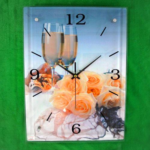 장미와 와인 그림 벽시계(30cmx40cmx2.8cm) [제작 대량 도매 로고 인쇄 레이저 마킹 각인 나염 실크 uv 포장 공장 문의는 네이뽕]