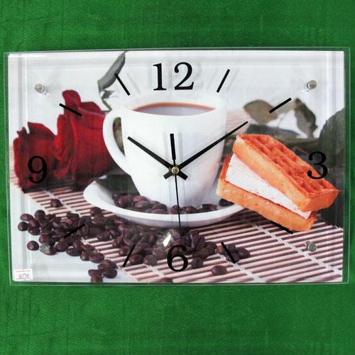 장미와 커피 그림 벽시계(38cmx26cmx2.8cm) [제작 대량 도매 로고 인쇄 레이저 마킹 각인 나염 실크 uv 포장 공장 문의는 네이뽕]
