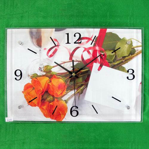 장미와 리본 그림 벽시계(38cmx26cmx2.8cm) [제작 대량 도매 로고 인쇄 레이저 마킹 각인 나염 실크 uv 포장 공장 문의는 네이뽕]