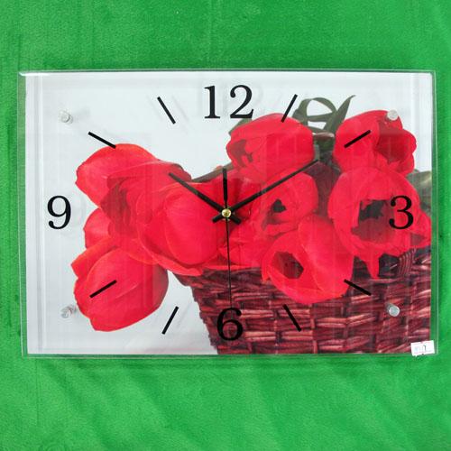 장미꽃 바구니 그림 벽시계(38cmx26cmx2.8cm) [제작 대량 도매 로고 인쇄 레이저 마킹 각인 나염 실크 uv 포장 공장 문의는 네이뽕]