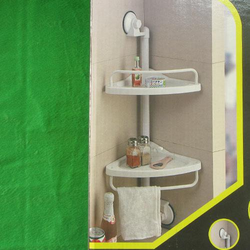흡착식 2단 모서리 선반/타올 걸이(33cmx75cm) [제작 대량 도매 로고 인쇄 레이저 마킹 각인 나염 실크 uv 포장 공장 문의는 네이뽕]