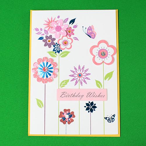 팬시 플라워 생일카드(20cmx14cm) [제작 대량 도매 로고 인쇄 레이저 마킹 각인 나염 실크 uv 포장 공장 문의는 네이뽕]
