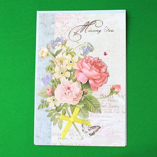 팬시 플라워 축하 카드(22cmx14.5cm) [제작 대량 도매 로고 인쇄 레이저 마킹 각인 나염 실크 uv 포장 공장 문의는 네이뽕]