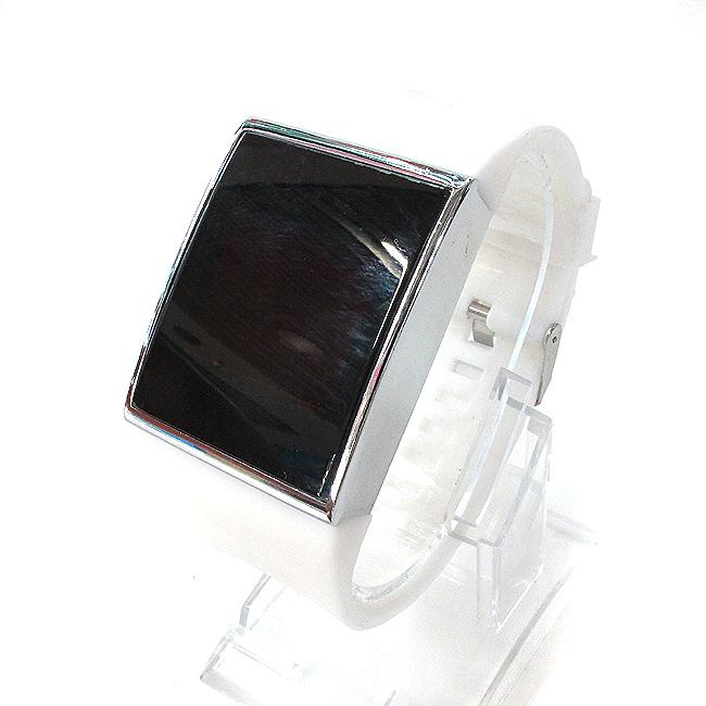 실리콘 터치스크린 손목시계C(화이트) [제작 대량 도매 로고 인쇄 레이저 마킹 각인 나염 실크 uv 포장 공장 문의는 네이뽕]