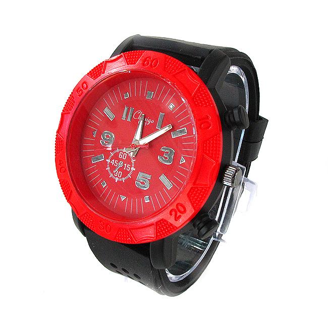 컬러풀 실리콘 손목시계A(레드+블랙) [제작 대량 도매 로고 인쇄 레이저 마킹 각인 나염 실크 uv 포장 공장 문의는 네이뽕]