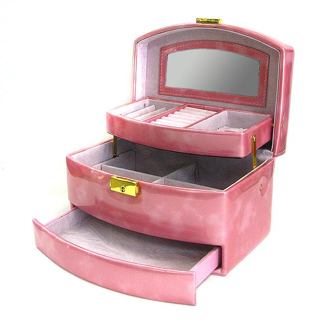 라운드 3단 액세서리 수납함(핑크) [제작 대량 도매 로고 인쇄 레이저 마킹 각인 나염 실크 uv 포장 공장 문의는 네이뽕]