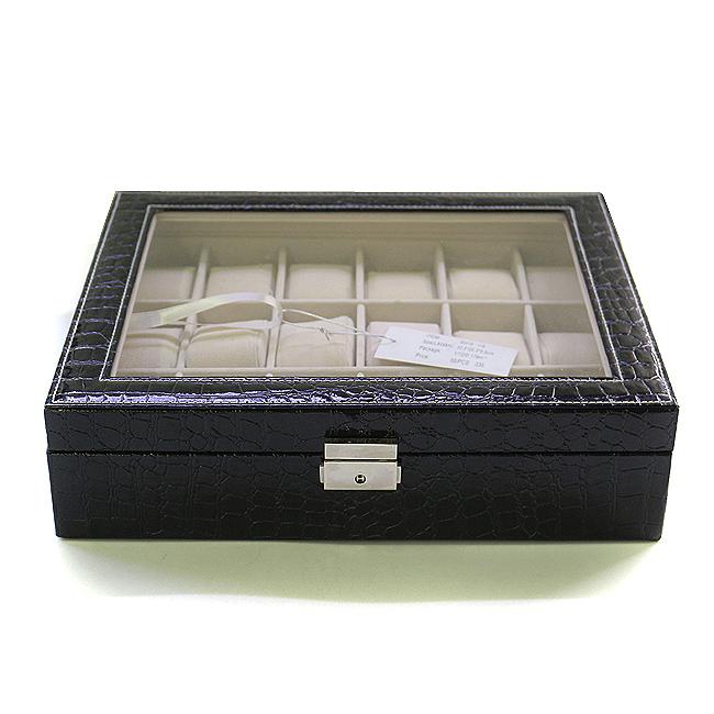18구 클래식 가죽 시계 보관함(33.5cmx28.3cmx8.5cm) [제작 대량 도매 로고 인쇄 레이저 마킹 각인 나염 실크 uv 포장 공장 문의는 네이뽕]
