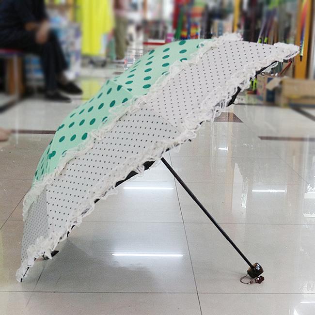이단레이스 도트 3단 수동 우산겸 양산(97cmx64cm/접었을때: 24cmx6cm) [제작 대량 도매 로고 인쇄 레이저 마킹 각인 나염 실크 uv 포장 공장 문의는 네이뽕]