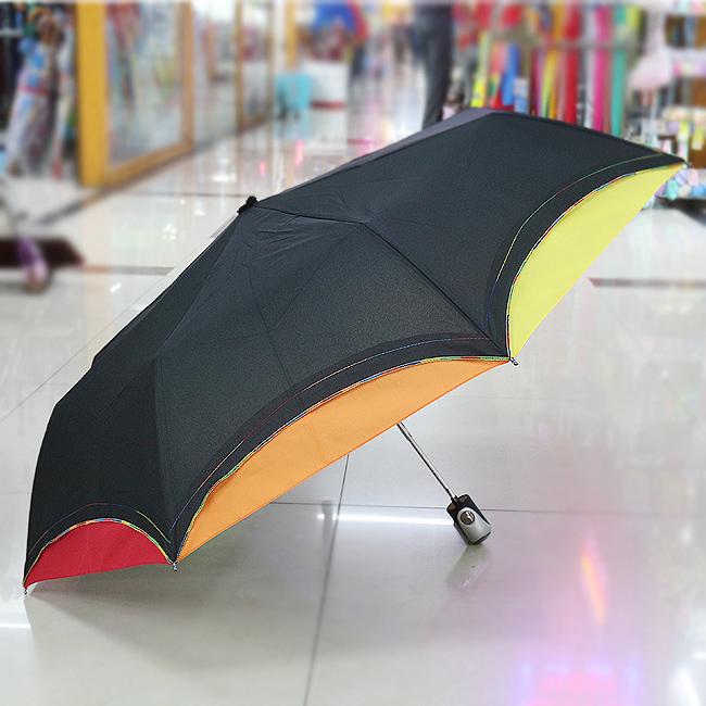 컬러 엣지 3단 반자동 우산(94cmx53cm/30cmx6cm) [제작 대량 도매 로고 인쇄 레이저 마킹 각인 나염 실크 uv 포장 공장 문의는 네이뽕]