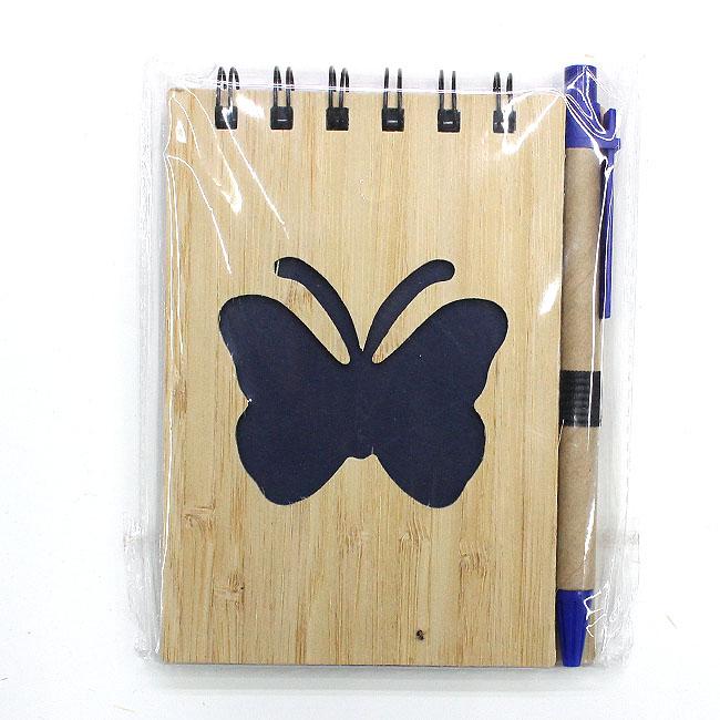 대나무 나비 핸디수첩(블랙) (9cmx13cmx1cm) [제작 대량 도매 로고 인쇄 레이저 마킹 각인 나염 실크 uv 포장 공장 문의는 네이뽕]
