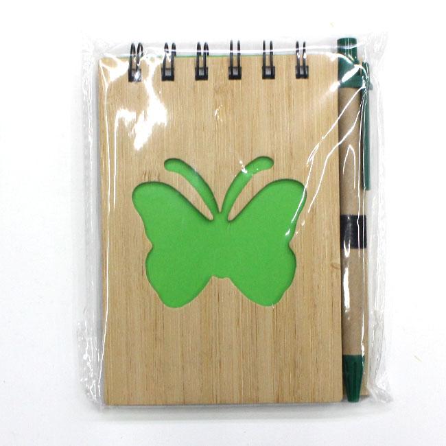 대나무 나비 핸디수첩(그린) (9cmx13cmx1cm) [제작 대량 도매 로고 인쇄 레이저 마킹 각인 나염 실크 uv 포장 공장 문의는 네이뽕]