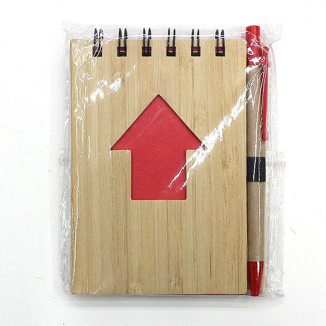 대나무 애로우 핸디수첩(레드) (9cmx13cmx1cm) [제작 대량 도매 로고 인쇄 레이저 마킹 각인 나염 실크 uv 포장 공장 문의는 네이뽕]