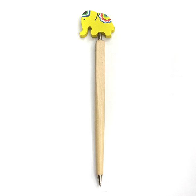 옐로코끼리 목각볼펜 [제작 대량 도매 로고 인쇄 레이저 마킹 각인 나염 실크 uv 포장 공장 문의는 네이뽕]