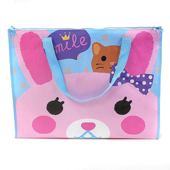 핑크래빗 사각 부직포 가방 [제작 대량 도매 로고 인쇄 레이저 마킹 각인 나염 실크 uv 포장 공장 문의는 네이뽕]
