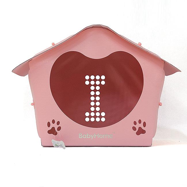 조립식 아이 하트 애견 하우스(핑크) [제작 대량 도매 로고 인쇄 레이저 마킹 각인 나염 실크 uv 포장 공장 문의는 네이뽕]